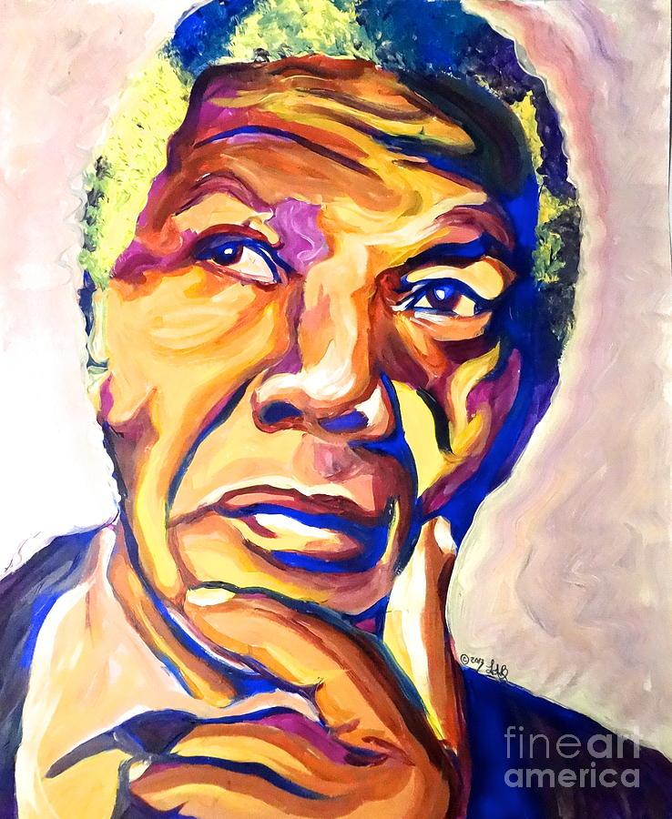 Nelson Mandela Painting - Nelson Mandela Thoughts by LLaura Burge