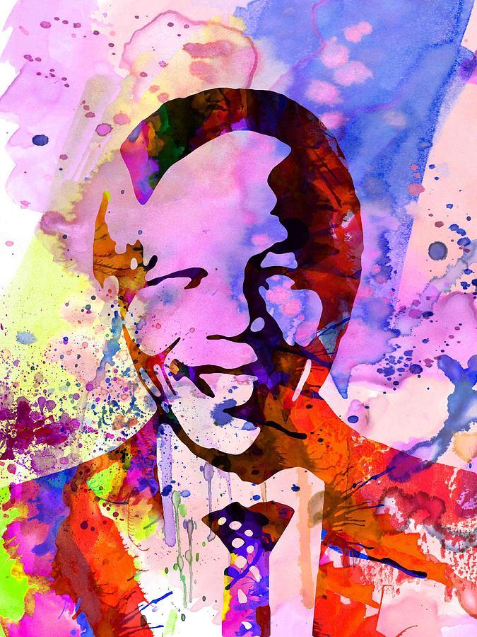 Painting - Nelson Mandela Watercolor by Naxart Studio