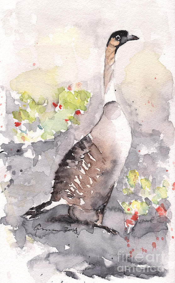 Hawaiian Goose Painting - Nene -hawaiian Goose by Claudia Hafner