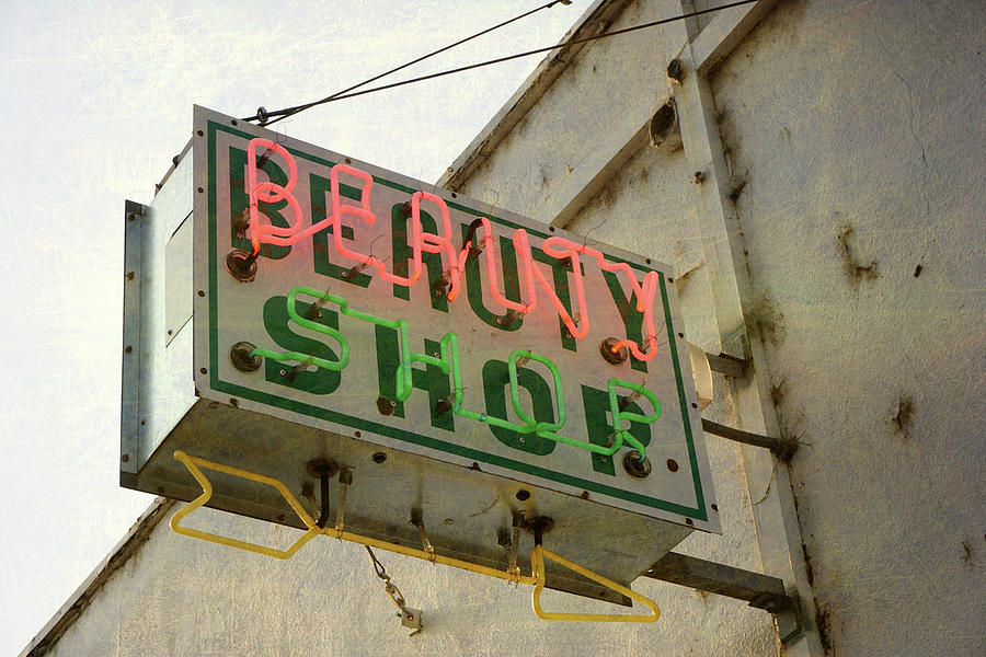 Neon Beauty Shop Sign Photograph by Smodj