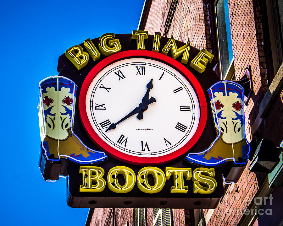 Sign Photograph - Neon Boots by Perry Webster