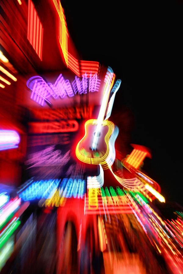 Neon Burst In Downtown Nashville Photograph - Neon Burst In Downtown Nashville by Dan Sproul