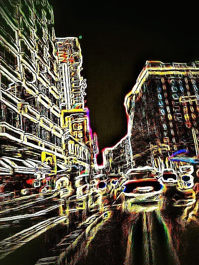 Neon Photograph - Neon City Night by Eddie G