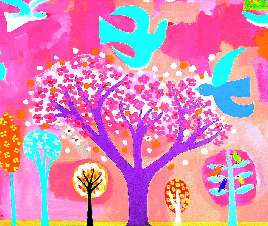 Outdoors Digital Art - Neon Colored Birds And Flowering Trees by Christopher Corr