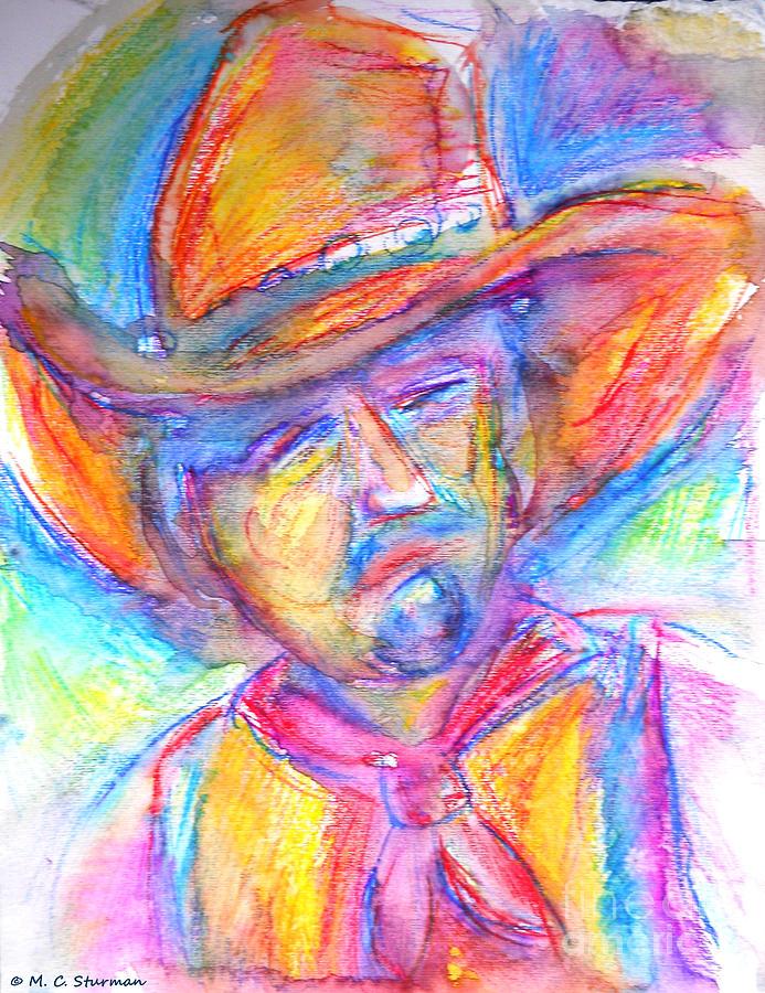 Cowboy Painting - Neon Cowboy by M C Sturman