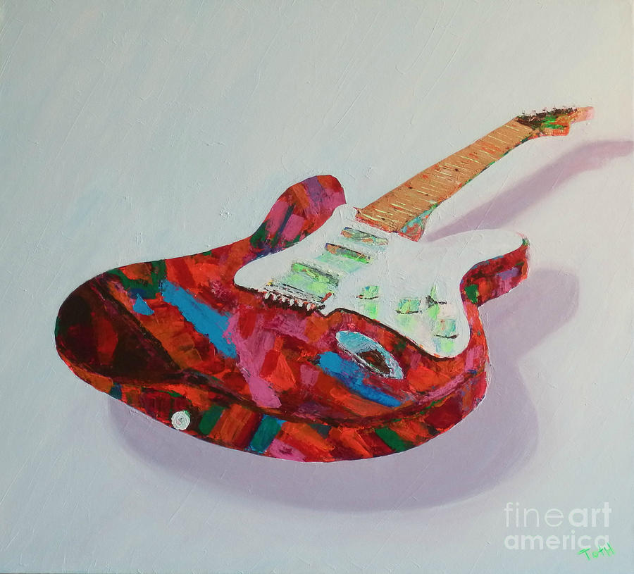 Guitar Painting - Neon Electric by Laura Toth