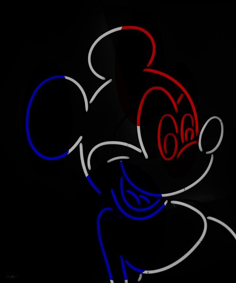 Neon Mickey R W B Photograph