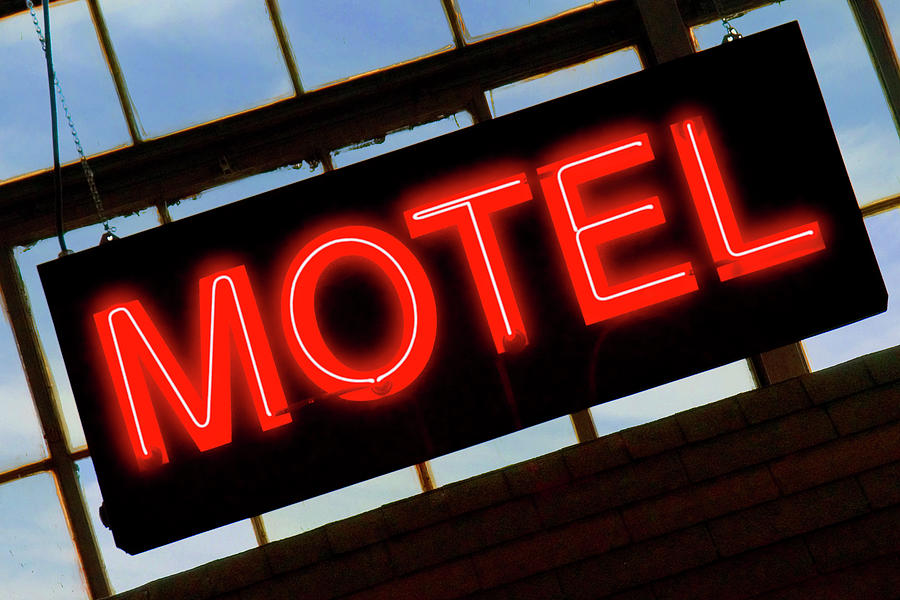 Sign Photograph - Neon Motel Sign by Mike McGlothlen