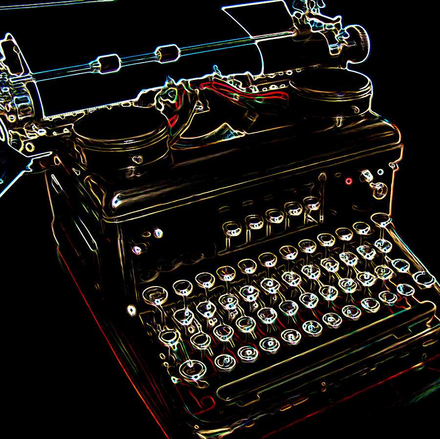 Neon Digital Art - Neon Old Typewriter by Ernie Echols