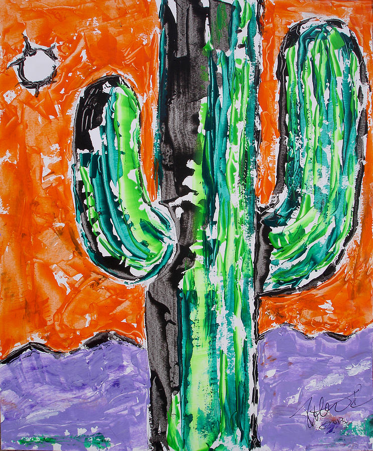 Neon Saguaro Cactus Limited Edition Poster Christmas Card Painting ...
