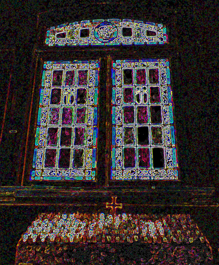 Stained Glass Photograph - Neon Shrine by Seth Shotwell