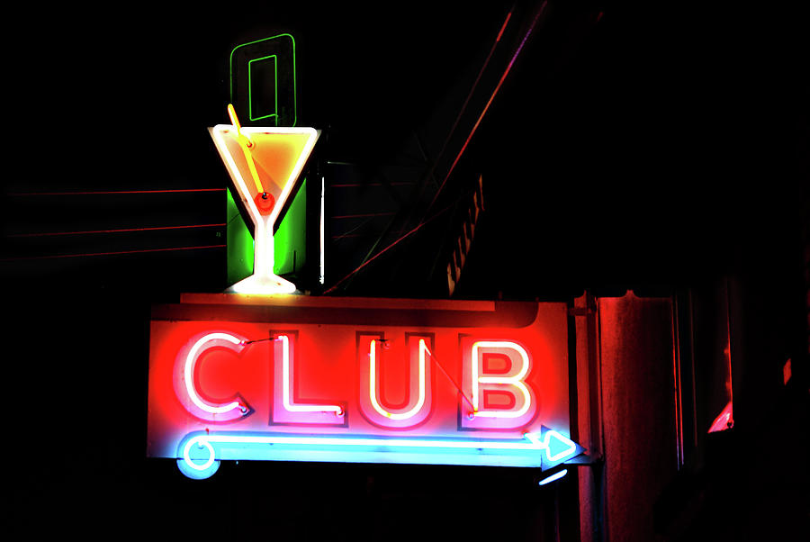Neon Sign Club Photograph by Melany Sarafis