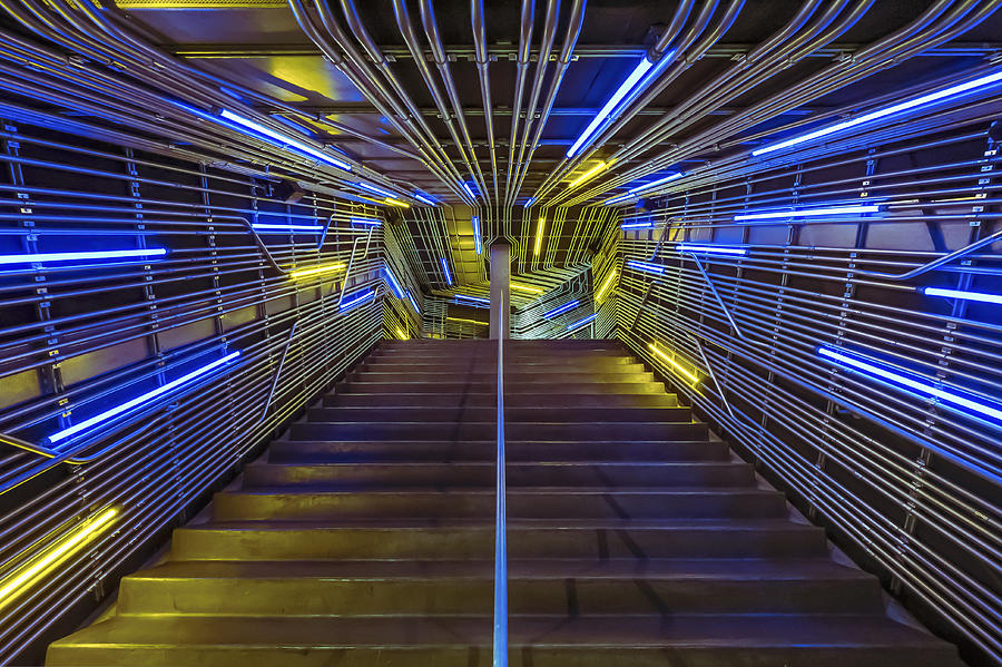 Neon Photograph - Neon Steps by Akos Kozari