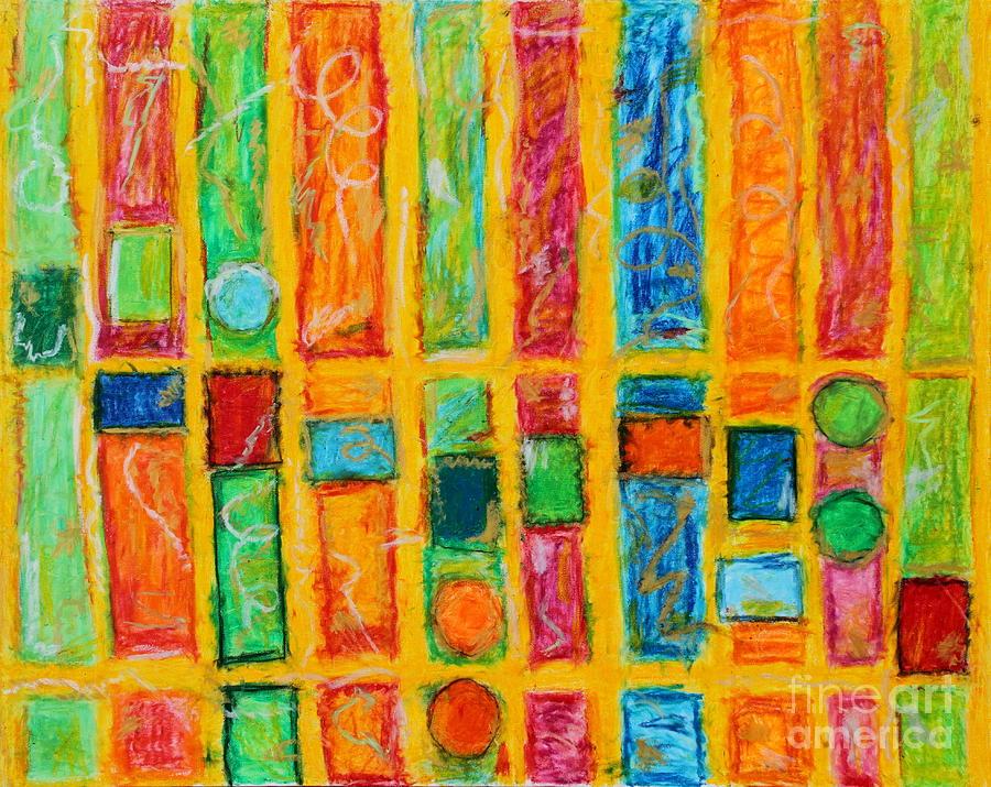 Bright Stripe Mixed Media - Neon Stripes by Kelly Athena