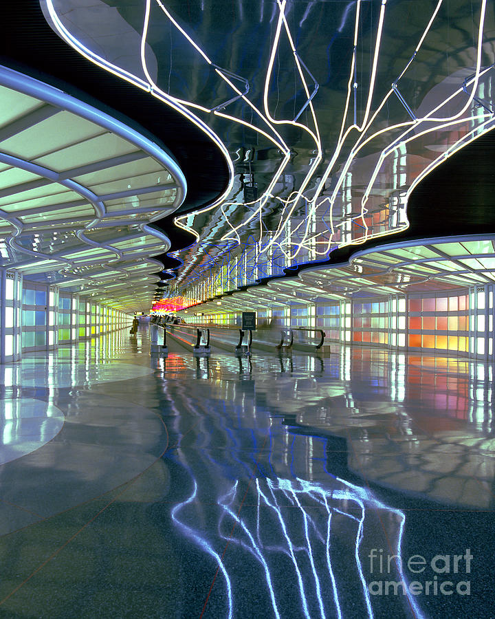 Neon Walkway at Ohare by Martin Konopacki