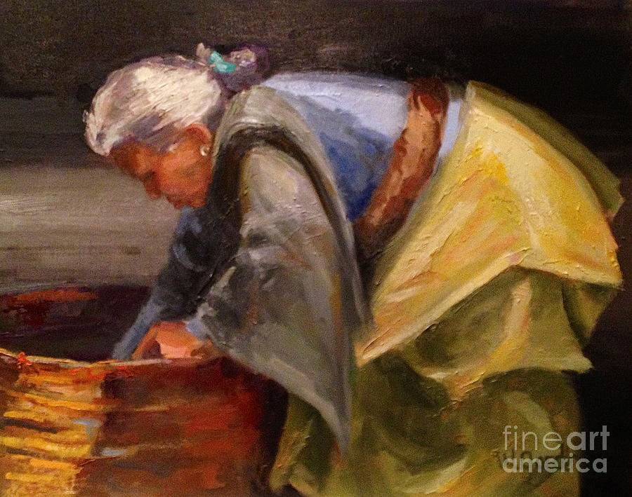 Oil Painting - Nepal Woman by Wendy Gordin