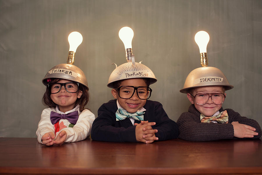 Nerd Children Wearing Lighted Mind Photograph by Richvintage