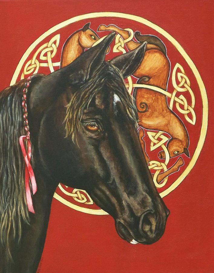 Horses Painting - Nero by Beth Clark-McDonal
