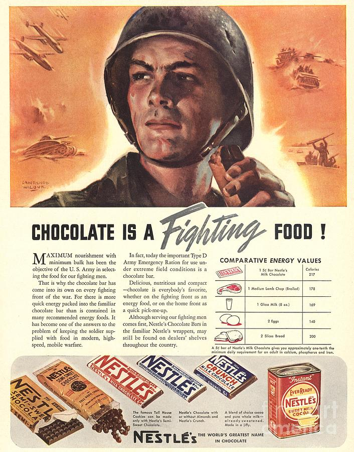 1940s Drawing - Nestle�s 1940s Usa Propaganda Chocolate by The Advertising Archives