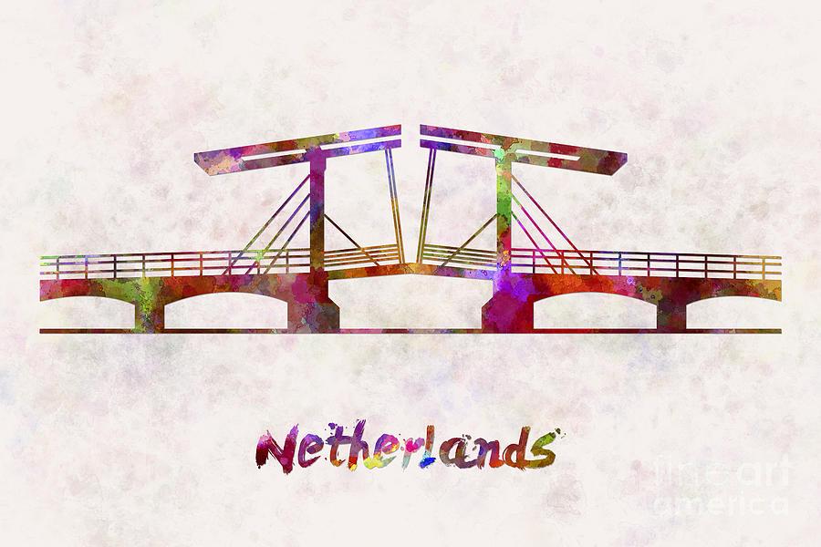 Netherlands Landmark Bridge In Watercolor Painting