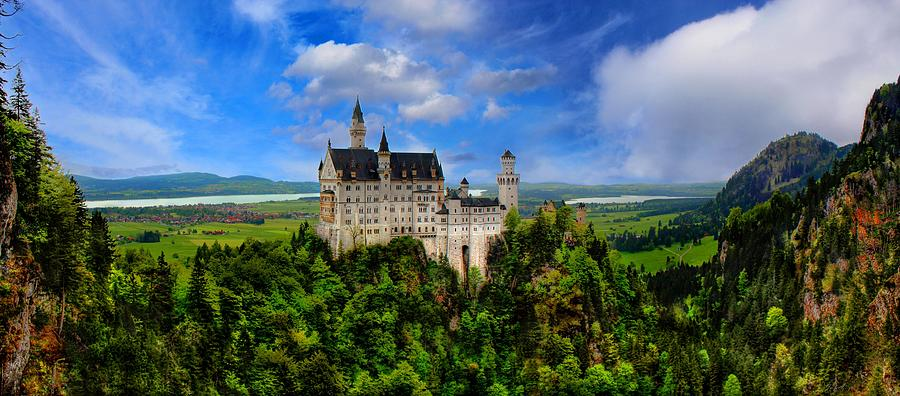 Architecture Photograph - Neuschwanstein Castle Bavaria Germany Panorama by Julia Fine Art And Photography