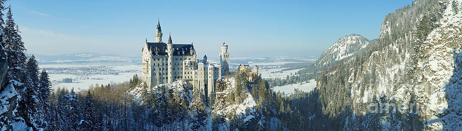 Prott Photograph - Neuschwanstein Castle Panorama In Winter by Rudi Prott