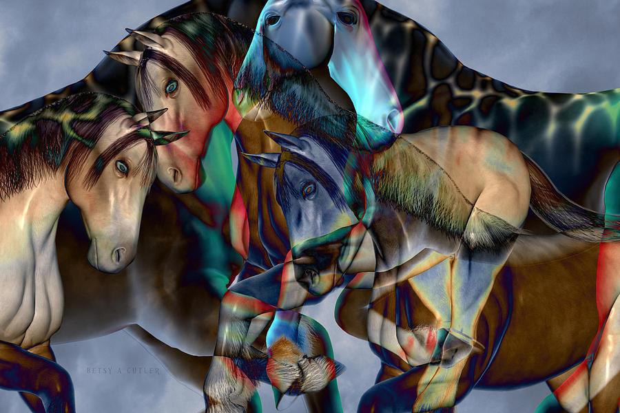 Horse Digital Art - Neutral Tones by Betsy Knapp
