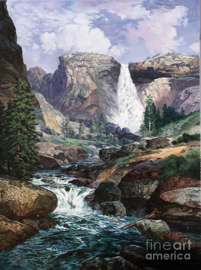 Waterfall Painting - Nevada Falls Rendition By W Scott Fenton by W  Scott Fenton