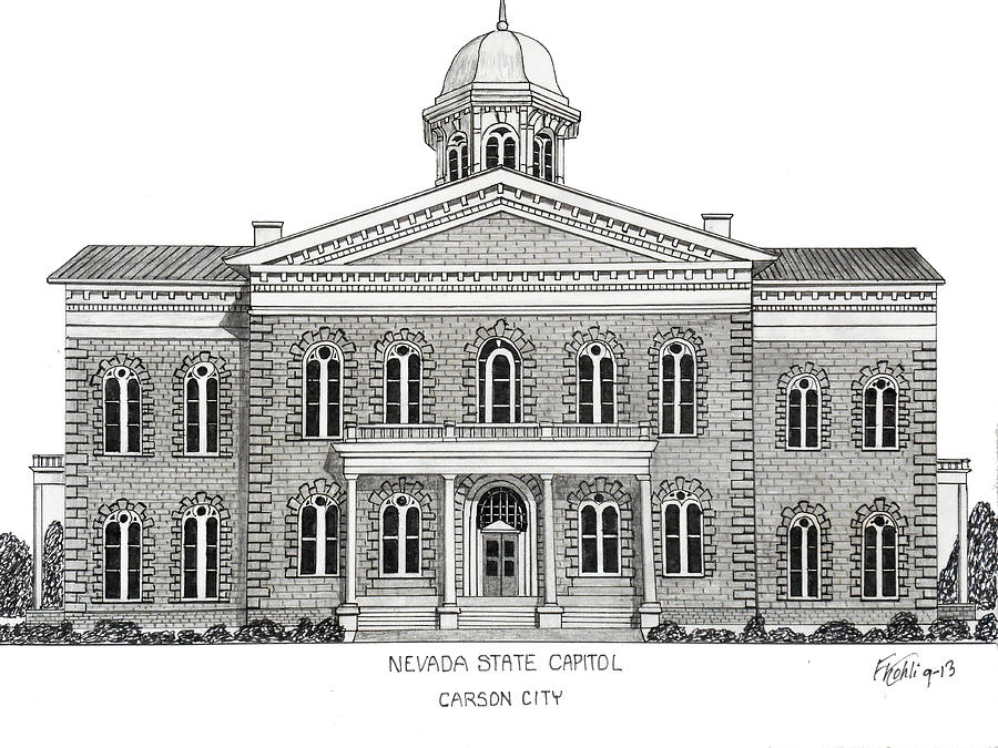 Nevada State Capitol Drawing by Frederic Kohli