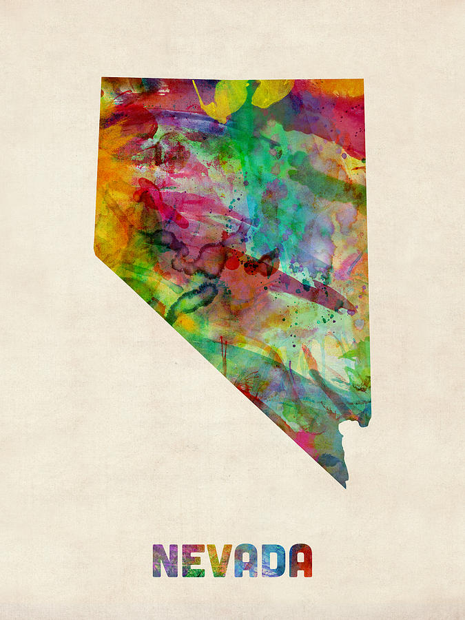 United States Map Digital Art - Nevada Watercolor Map by Michael Tompsett