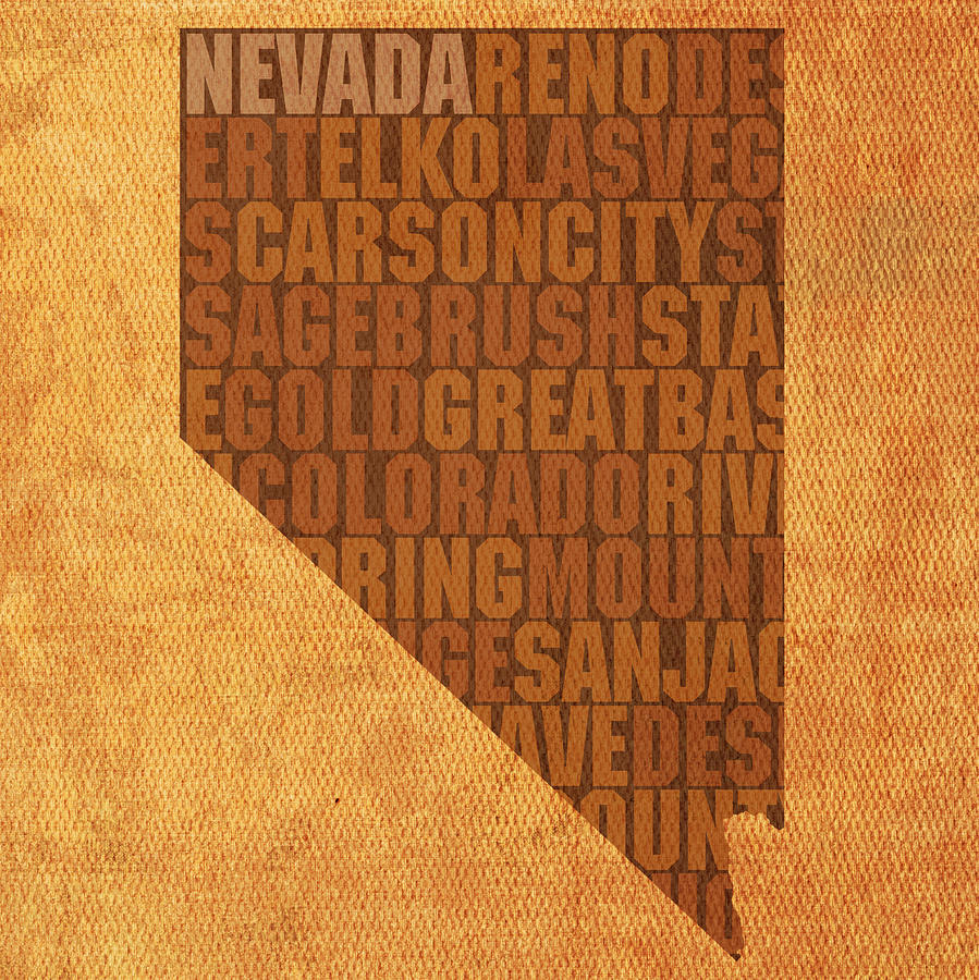 Nevada Mixed Media - Nevada Word Art State Map On Canvas by Design Turnpike