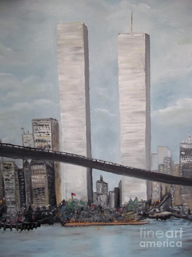 Never Forget The Twin Towers Ny Painting By Rhonda Lee
