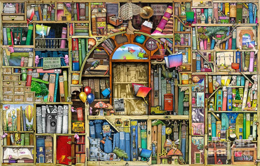 wallpaper bookcase back