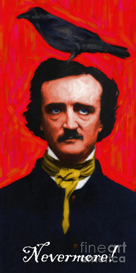 Edgar Photograph - Nevermore - Edgar Allan Poe - Painterly by Wingsdomain Art and Photography