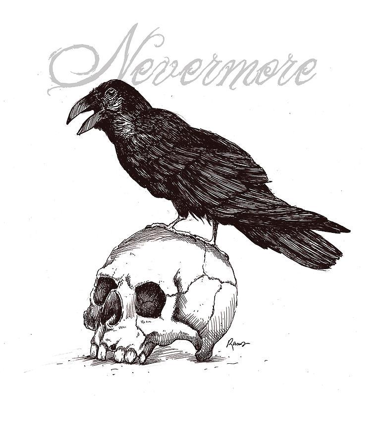 Minimalist Raven Tattoo: Nevermore Digital Art By Timothy Ramos