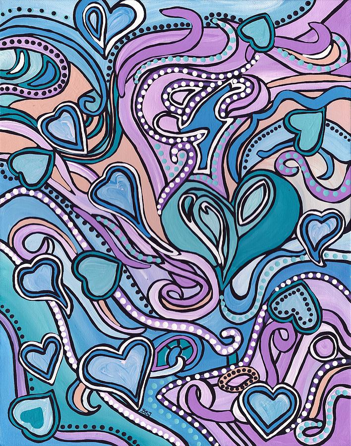 Hearts Painting - New Age Heart With Soul by Barbara St Jean