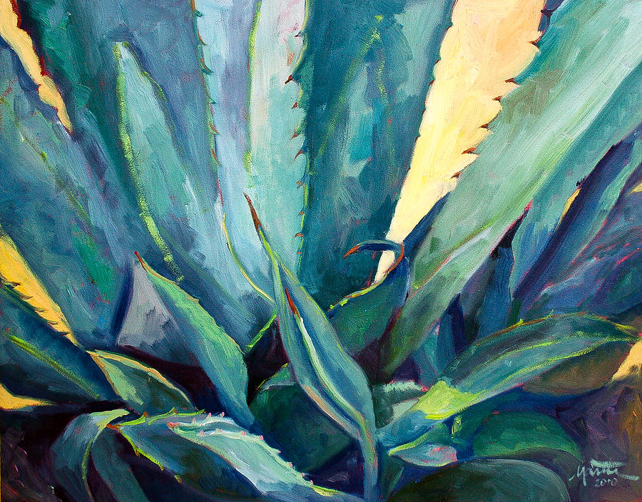 Plant Painting - New Blue Agave by Athena Mantle