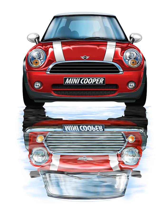 New Bmw Mini Cooper Red Digital Art By David Kyte