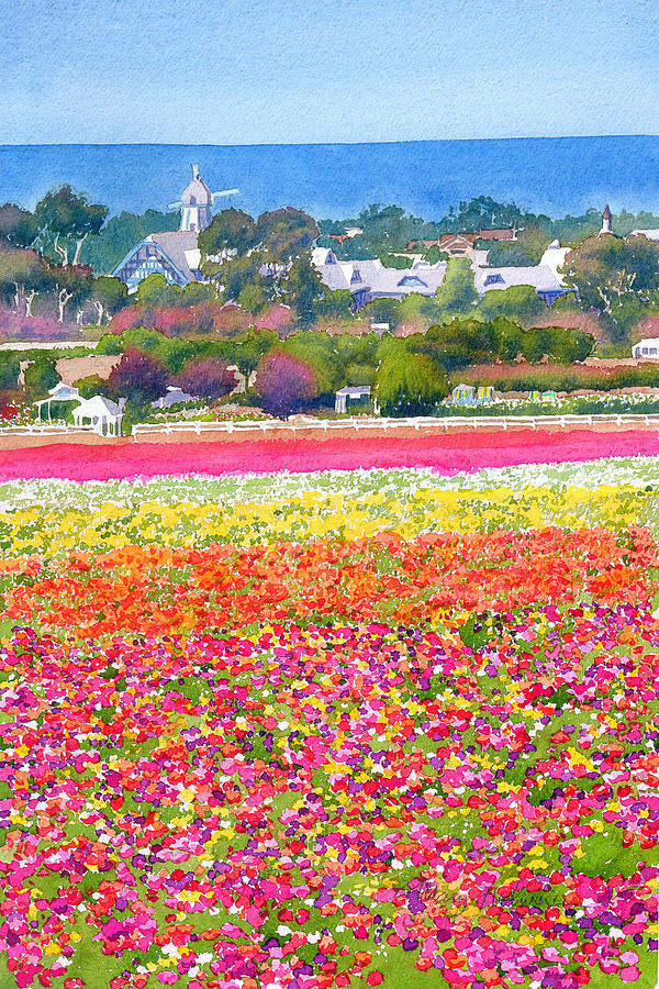 Landscape Painting - New Carlsbad Flower Fields by Mary Helmreich