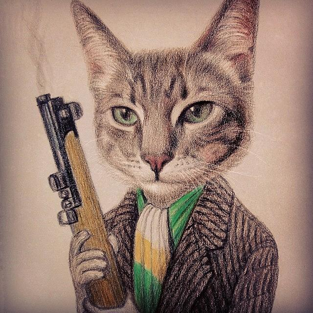 New Color Pencil Animal Cat Drawing Photograph by Wind Z