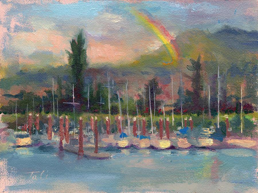 Rainbow Painting - New Covenant - Rainbow Over Marina by Talya Johnson