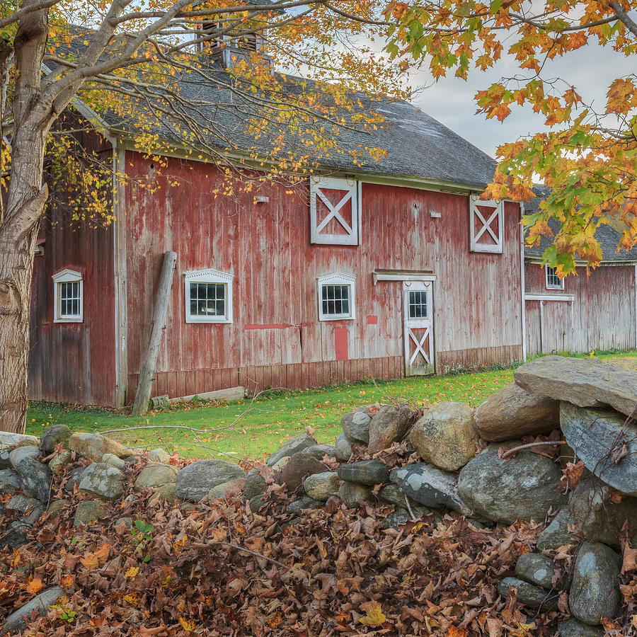 Bucolic Photograph - New England Barn Square by Bill Wakeley