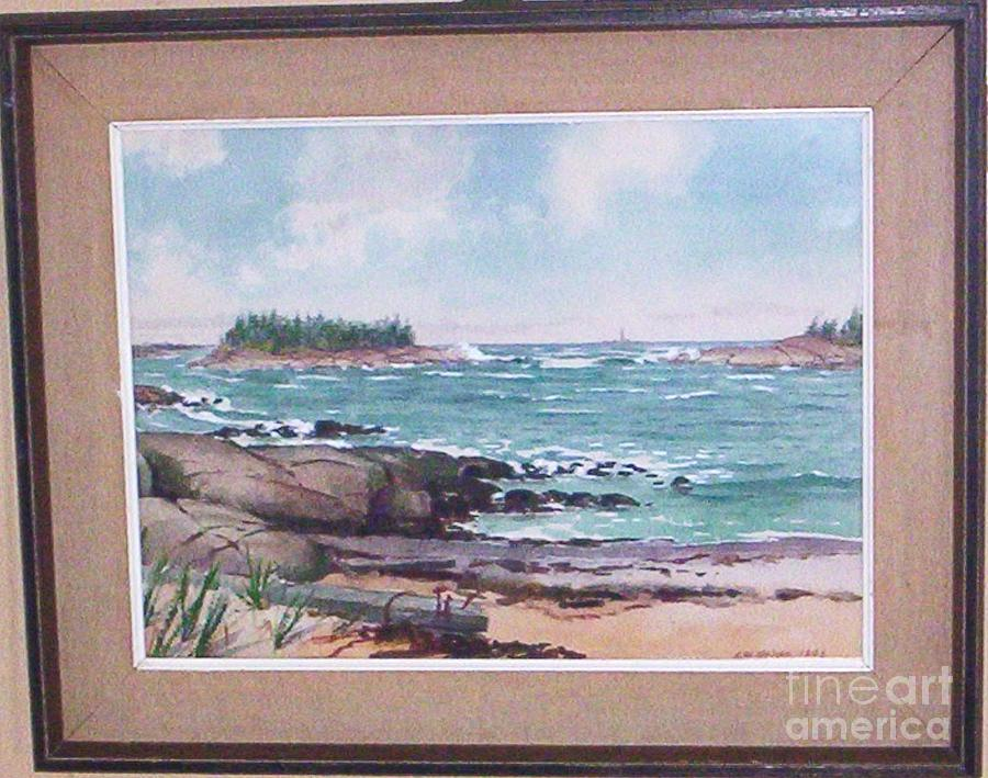 Landscape Painting Painting - New England Coastal Bay Scene by Albert W Nelson