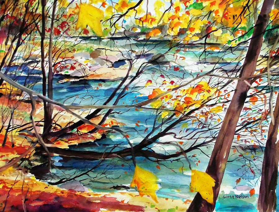 New England Painting - New England Leaves Along The River by Scott Nelson