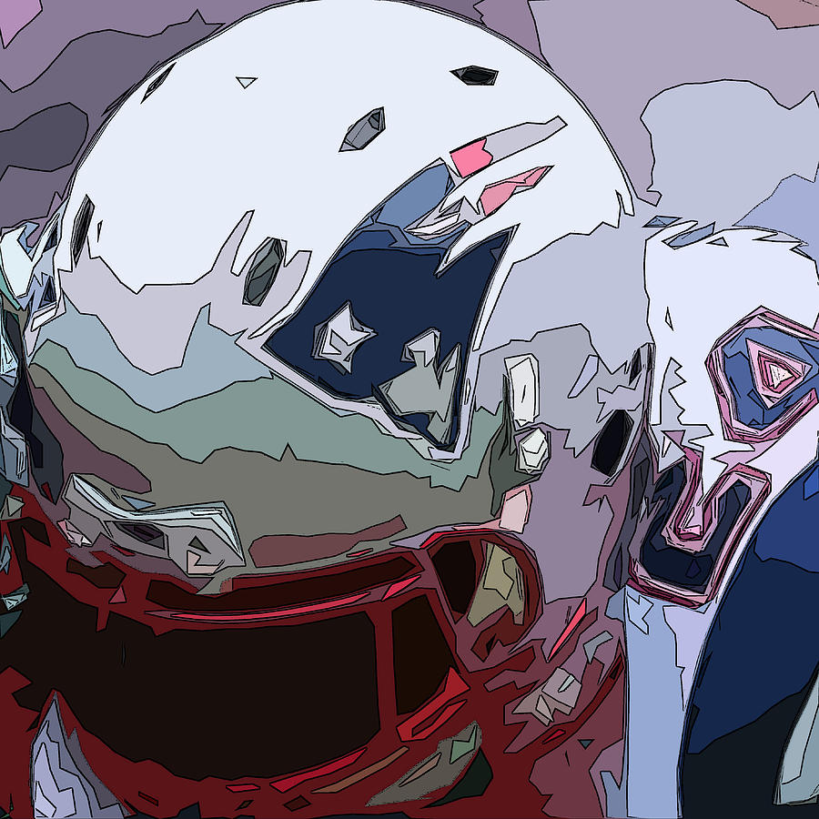 New England Patriots Comic Style Abstract 1 Digital Art By David G Paul