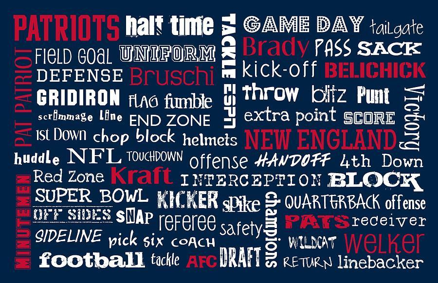 New England Patriots Digital Art by Jaime Friedman
