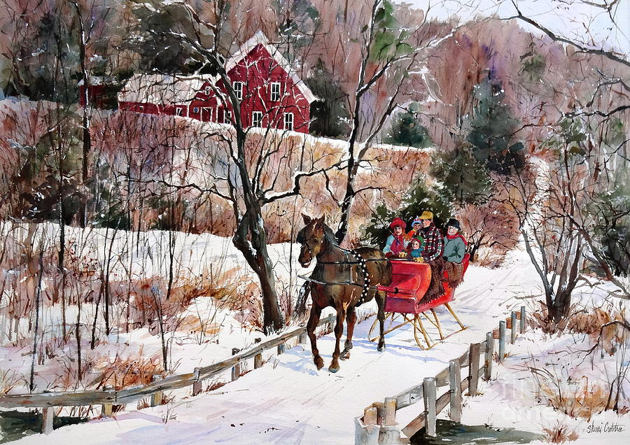New England Painting - New England Sleighride by Sherri Crabtree