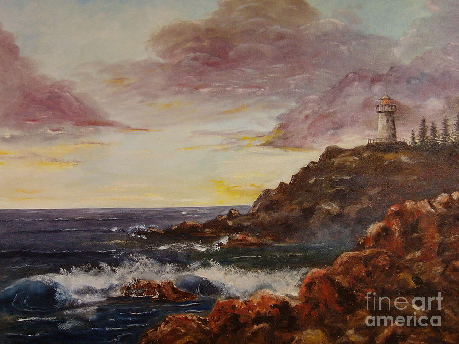 Ocean Painting - New England Storm by Lee Piper