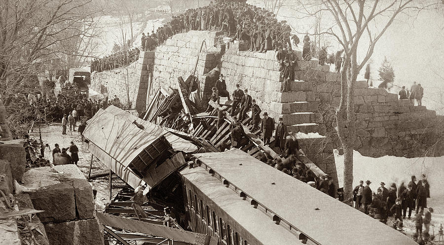 1887 Photograph - New England Train Wreck by Granger