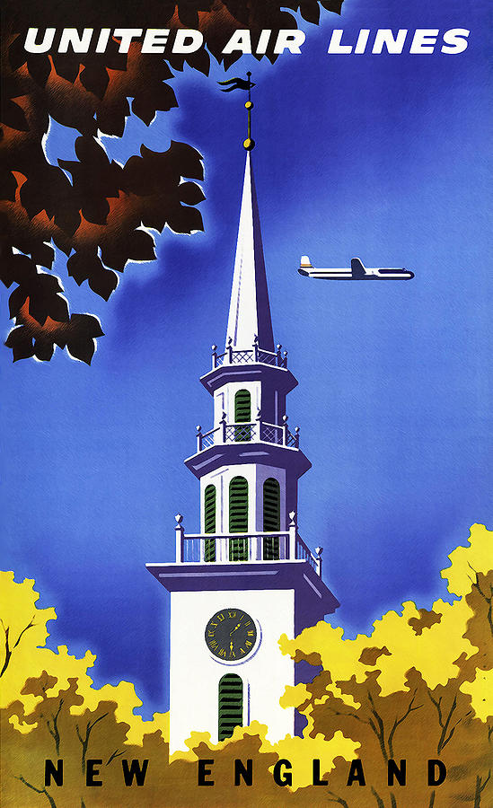 New England Photograph - New England United Air Lines by Mark Rogan